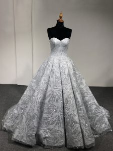 Sleeveless Floor Length Sequins Lace Up Quinceanera Dresses with Silver