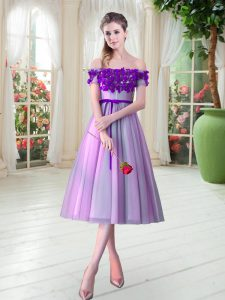 Excellent Appliques Prom Gown Lilac Lace Up Sleeveless Tea Length