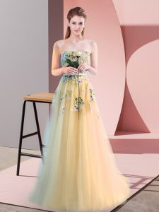 Light Yellow A-line Tulle Sweetheart Sleeveless Appliques Floor Length Lace Up Prom Dress