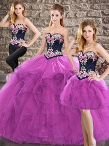Purple Lace Up Sweetheart Beading and Embroidery Vestidos de Quinceanera Tulle Sleeveless