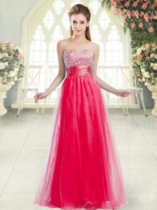 Coral Red Sweetheart Neckline Beading Prom Dresses Sleeveless Lace Up