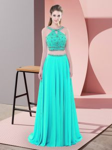 Discount Backless Prom Dress Aqua Blue for Prom and Party with Beading Sweep Train