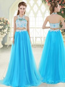 Flirting Aqua Blue Two Pieces Halter Top Sleeveless Tulle Floor Length Zipper Lace Prom Evening Gown