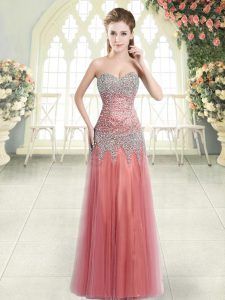 Enchanting Watermelon Red Sweetheart Zipper Beading Prom Evening Gown Sleeveless