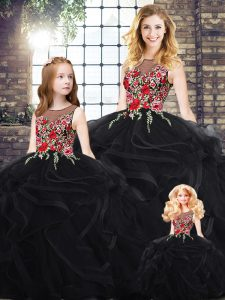 Fashionable Black Sleeveless Floor Length Embroidery and Ruffles Zipper Quinceanera Dress