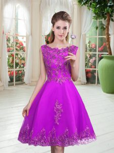 Sleeveless Beading and Appliques Lace Up Prom Evening Gown