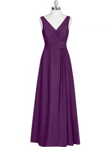 V-neck Sleeveless Prom Evening Gown Floor Length Ruching Eggplant Purple Chiffon