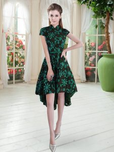 Smart Green A-line Lace High-neck Short Sleeves Appliques High Low Zipper Prom Dresses