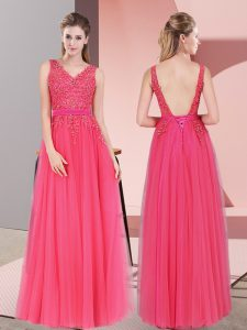 Floor Length Backless Prom Party Dress Hot Pink for Prom and Party and Military Ball with Lace