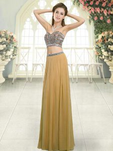 Edgy Floor Length Backless Prom Gown Gold for Prom and Party with Beading
