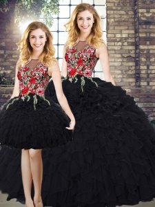 Eye-catching Black Organza Zipper Quinceanera Gown Sleeveless Floor Length Embroidery and Ruffles