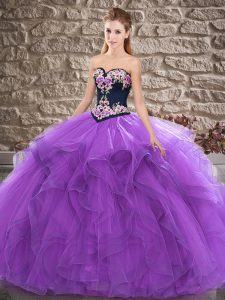 Sweetheart Sleeveless Tulle Sweet 16 Dress Beading and Embroidery Lace Up