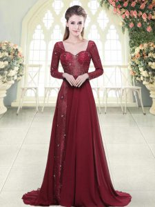 Glittering Beading and Appliques Homecoming Dress Burgundy Zipper Long Sleeves Brush Train