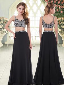 Comfortable Floor Length Two Pieces Sleeveless Black Prom Dress Zipper