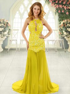Custom Designed Scoop Sleeveless Homecoming Dress Brush Train Lace Yellow Chiffon