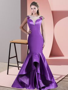 Inexpensive Appliques Homecoming Dress Eggplant Purple Side Zipper Sleeveless Sweep Train