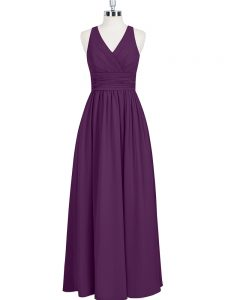 Fantastic V-neck Sleeveless Evening Dress Floor Length Ruching Eggplant Purple Chiffon