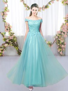 On Sale Aqua Blue Tulle Lace Up Quinceanera Court of Honor Dress Sleeveless Floor Length Lace