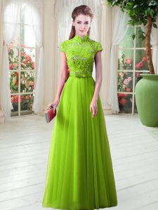 A-line Tulle High-neck Cap Sleeves Appliques Floor Length Lace Up Prom Dress