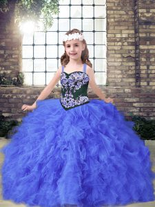 Affordable Embroidery and Ruffles Little Girls Pageant Dress Wholesale Blue Lace Up Sleeveless Floor Length