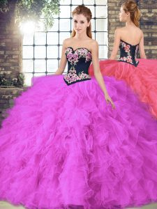 Sleeveless Floor Length Beading and Embroidery Lace Up Quinceanera Dresses with Fuchsia