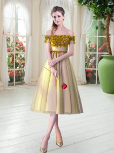 Flare Gold Sleeveless Appliques Tea Length Dress for Prom