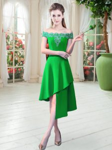 Fantastic Asymmetrical Zipper Prom Dress Green for Prom and Party with Appliques