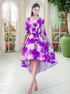 White And Purple Scoop Lace Up Belt Prom Evening Gown Half Sleeves