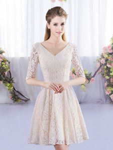 9fcf1e579ed Glittering Lace Court Dresses for Sweet 16 Champagne Lace Up Half Sleeves  Mini Length