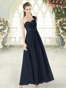 Low Price Black Womens Evening Dresses Prom and Party with Hand Made Flower One Shoulder Sleeveless Zipper