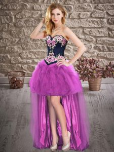 Comfortable Sleeveless High Low Lace Up Prom Dresses in Purple with Embroidery