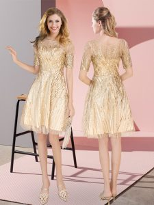 Sequined Scoop Half Sleeves Zipper Ruching Prom Dresses in Gold