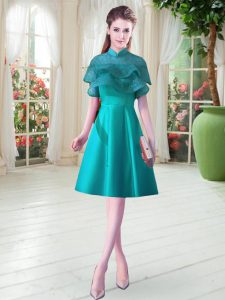 High-neck Cap Sleeves Lace Up Prom Gown Teal Satin
