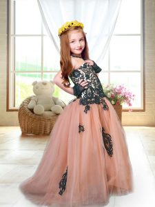 Peach Tulle Lace Up Little Girls Pageant Dress Sleeveless Brush Train Appliques