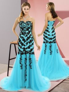 Fancy Aqua Blue Tulle Lace Up Formal Dresses Sleeveless Sweep Train Appliques