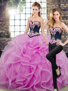Floor Length Lace Up Sweet 16 Quinceanera Dress Lilac for Military Ball and Sweet 16 and Quinceanera with Embroidery and Ruffles Sweep Train