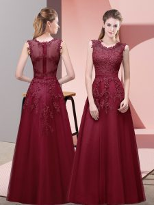 Burgundy Sleeveless Floor Length Lace and Appliques and Belt Zipper Evening Dress