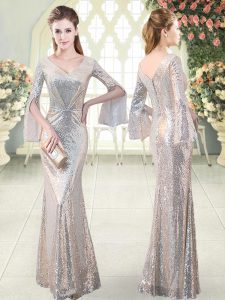 Super V-neck Long Sleeves Evening Wear Floor Length Ruching Silver Sequined
