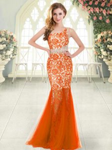 Fancy Beading and Lace Prom Party Dress Orange Red Zipper Sleeveless Floor Length