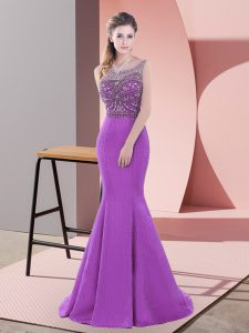 Purple Backless Scoop Beading and Lace Dress for Prom Satin Sleeveless Sweep Train