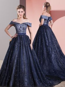 Superior Navy Blue Ball Gowns Beading Prom Dresses Lace Up Tulle Sleeveless
