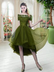 High Low Olive Green Homecoming Dress Tulle Short Sleeves Lace