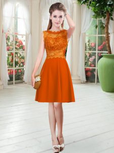 Orange Red Empire Satin Scalloped Sleeveless Lace Knee Length Zipper