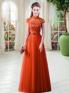 Decent Appliques Prom Dresses Orange Red Lace Up Cap Sleeves Floor Length