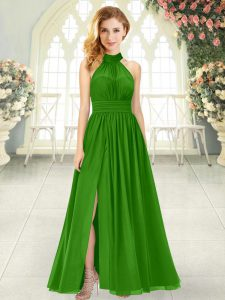 Sleeveless Chiffon Ankle Length Zipper Homecoming Dress in Green with Ruching