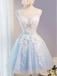 High End Sleeveless Tulle Knee Length Lace Up Prom Party Dress in Baby Blue with Appliques and Belt