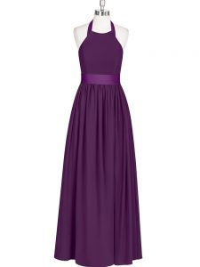 Amazing Chiffon Sleeveless Floor Length Prom Dresses and Ruching