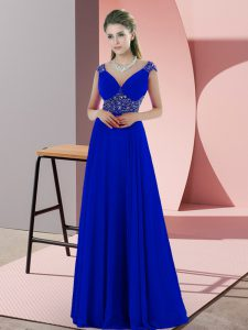 Most Popular Blue V-neck Neckline Beading and Pick Ups Prom Dresses Sleeveless Backless