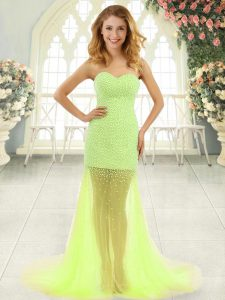 Elegant Yellow Green Sleeveless Tulle Brush Train Zipper Evening Dress for Prom and Party