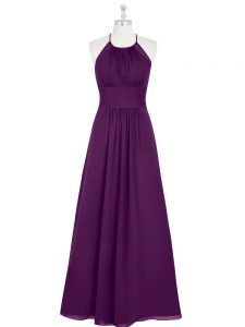 Floor Length A-line Sleeveless Eggplant Purple Prom Gown Zipper